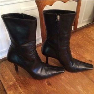 GUCCI Black Leather Stilettos Boots